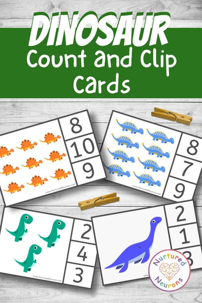 Preschool peg cards for count and clip - kindergarten dinosaur math counting printable clip cards