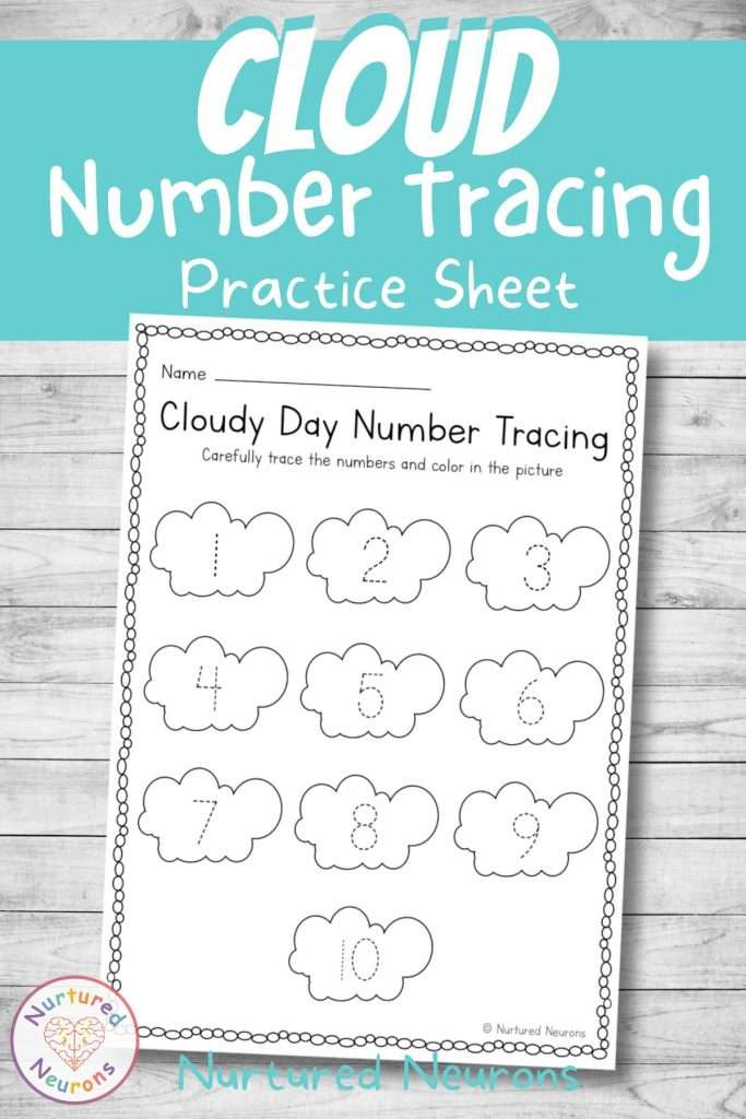 weather theme math activity - number formation worksheet - number tracing for kindergarten and preschool