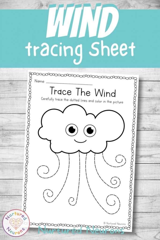 weather worksheet - tracing for kids and kindergarten and preschool
