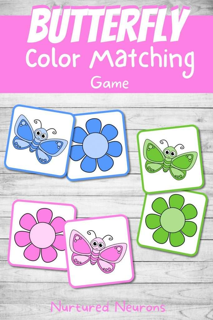 Spring butterfly color matching game preschool printable