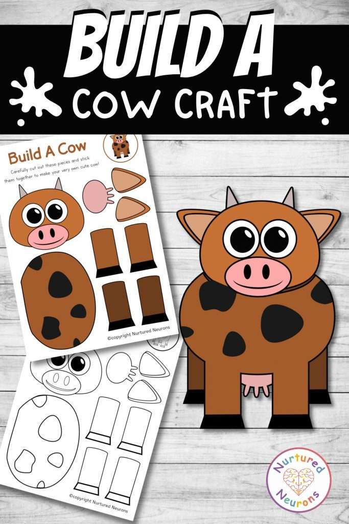 cut and paste cow craft for farmyard early years activity