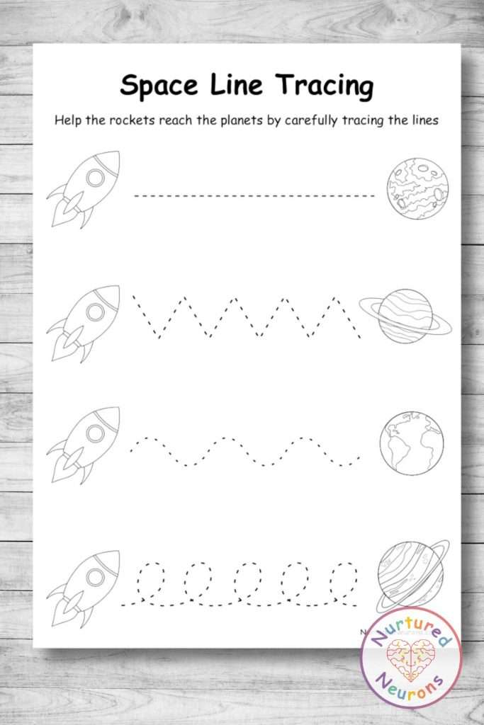 Black and white line tracing worksheets - printable pdf with a space theme