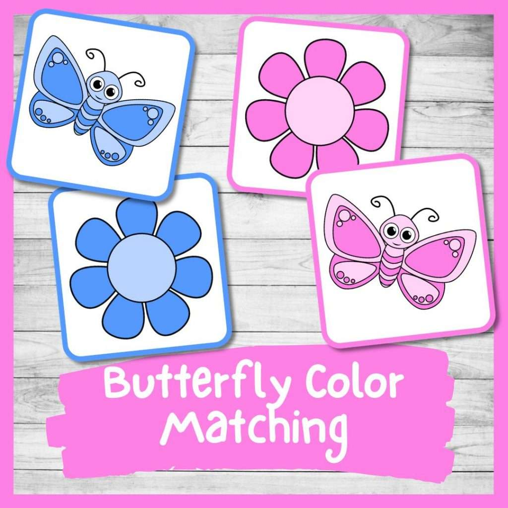 Butterfly color matching game - Spring preschool and kindergarten printable activity