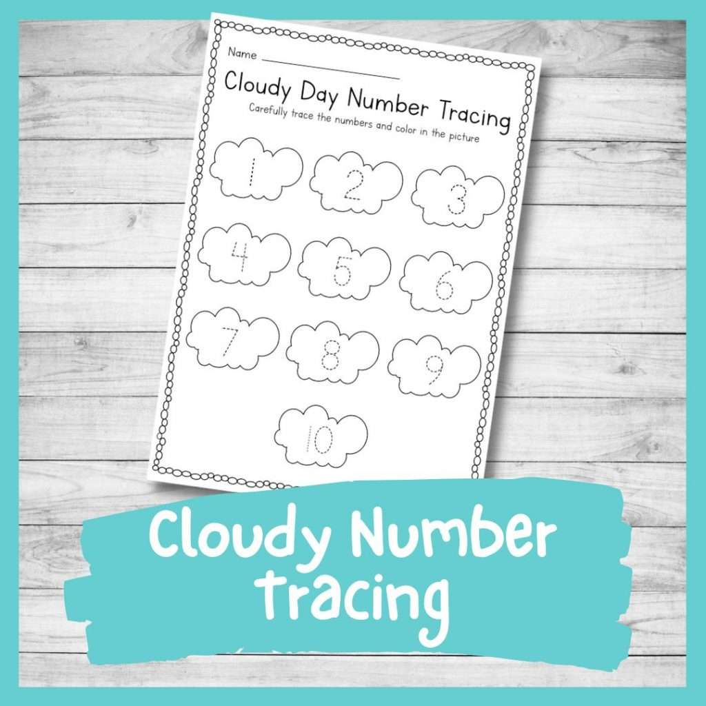 Cloud number tracing and coloring sheet - weather kindergarten printable writing skills and number formation worksheet