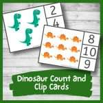 Awesome Dinosaur Count and Clip Cards (Printable Math Activity)