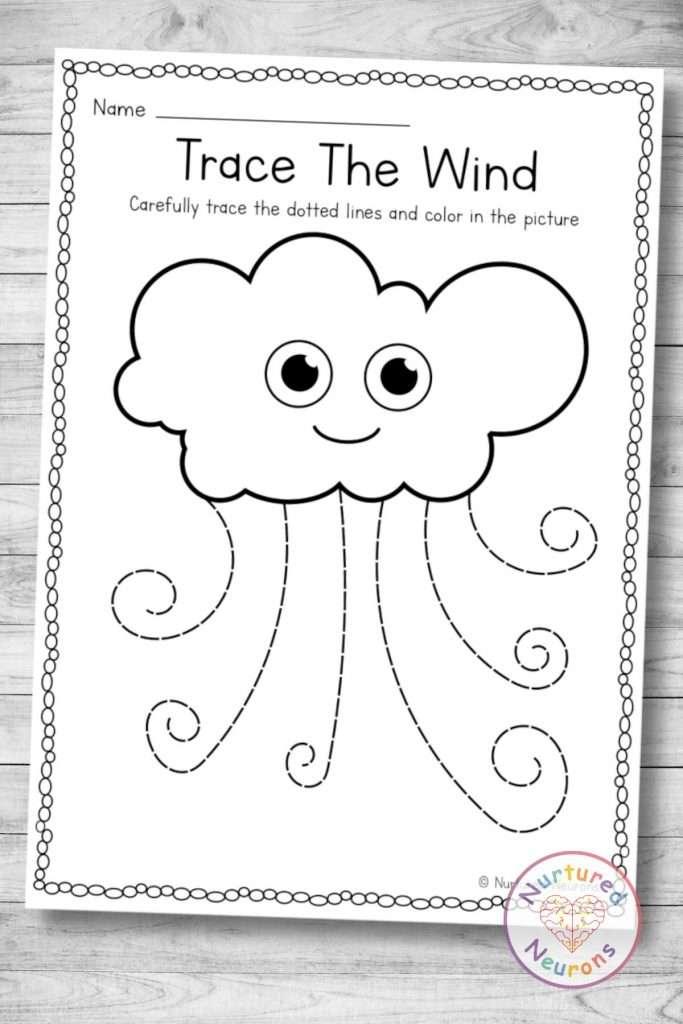 Printable wind tracing worksheet (preschool and kindergarten download)