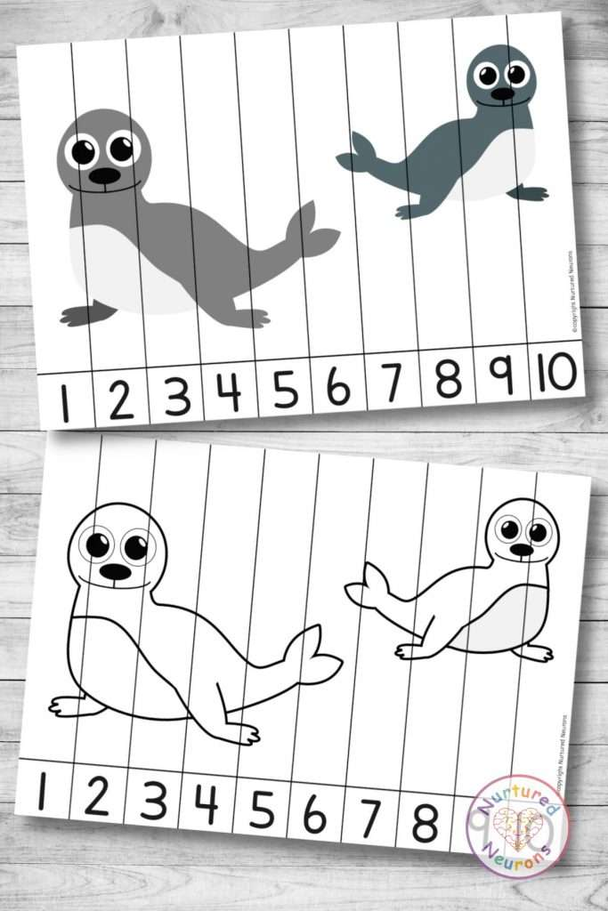 Seal Number Sequencing puzzle (preschool and kindergarten printable math activity for kids)