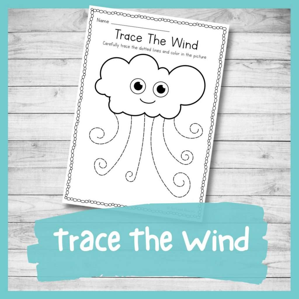 Wind tracing and coloring sheet - weather kindergarten printable writing skills worksheet