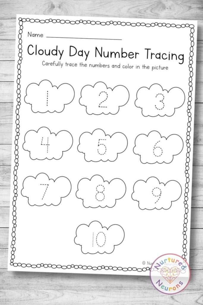 cloud Number tracing page (preschool and kindergarten weather printable download)
