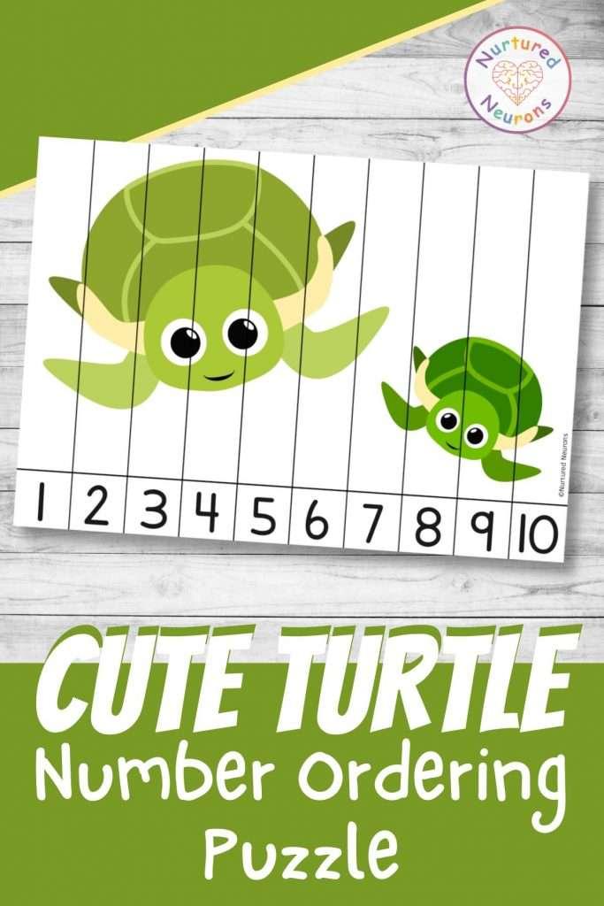 Cute turtle number ordering puzzle sea animal Math printable worksheet for kids