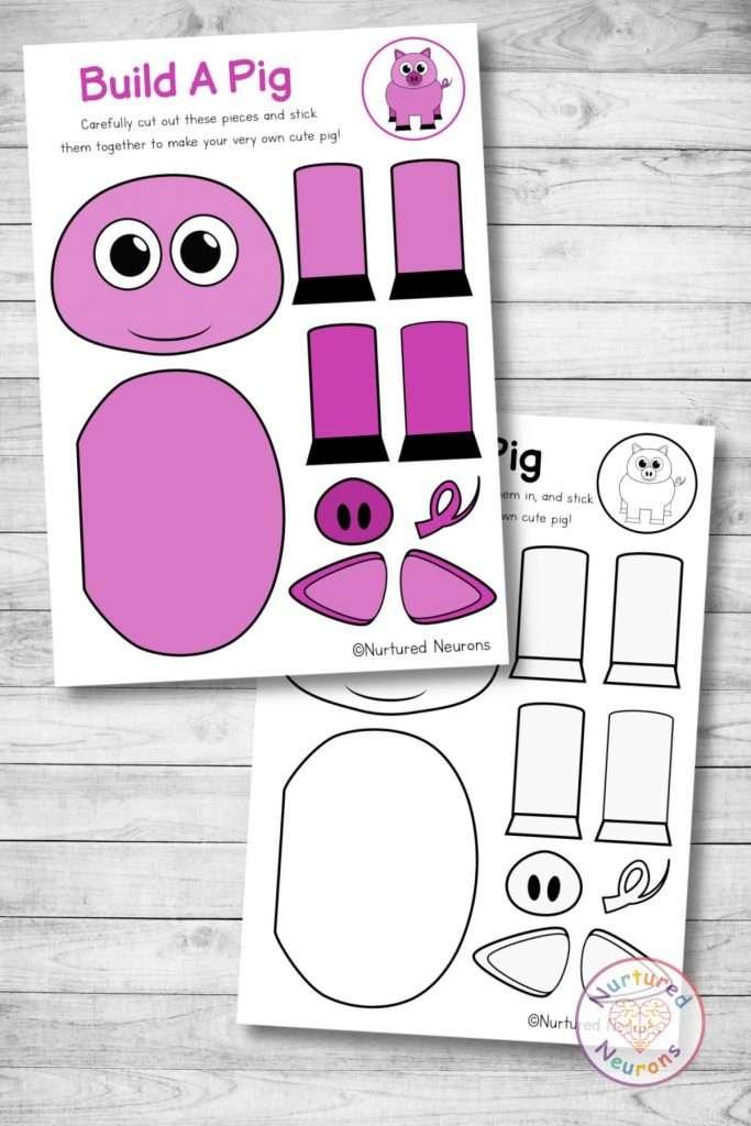farmyard pig template cut and paste farm craft (preschool and kindergarten pdf)