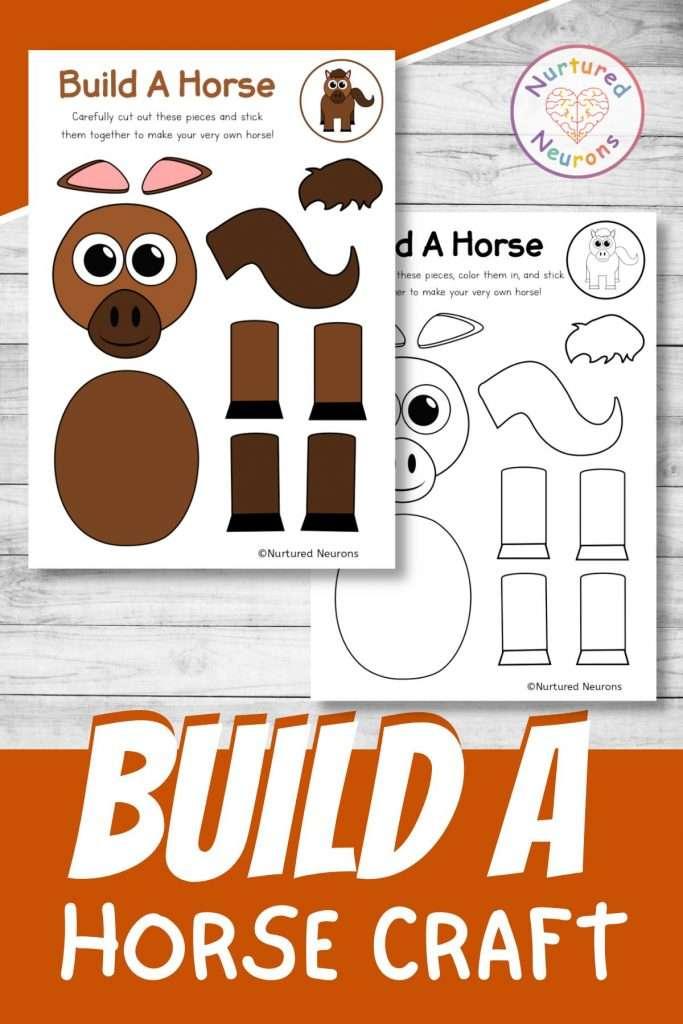 build a horse craft printable cute farmyard pony cut and paste for preschool and kindergarten