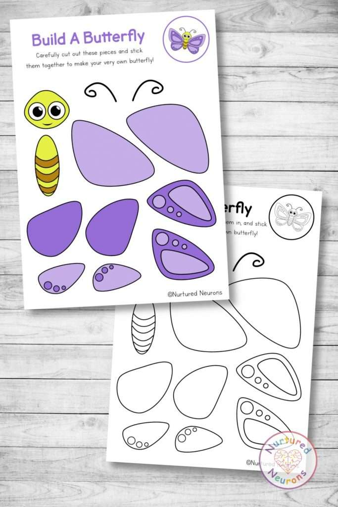 butterfly template cut and paste bug craft (preschool and kindergarten pdf)