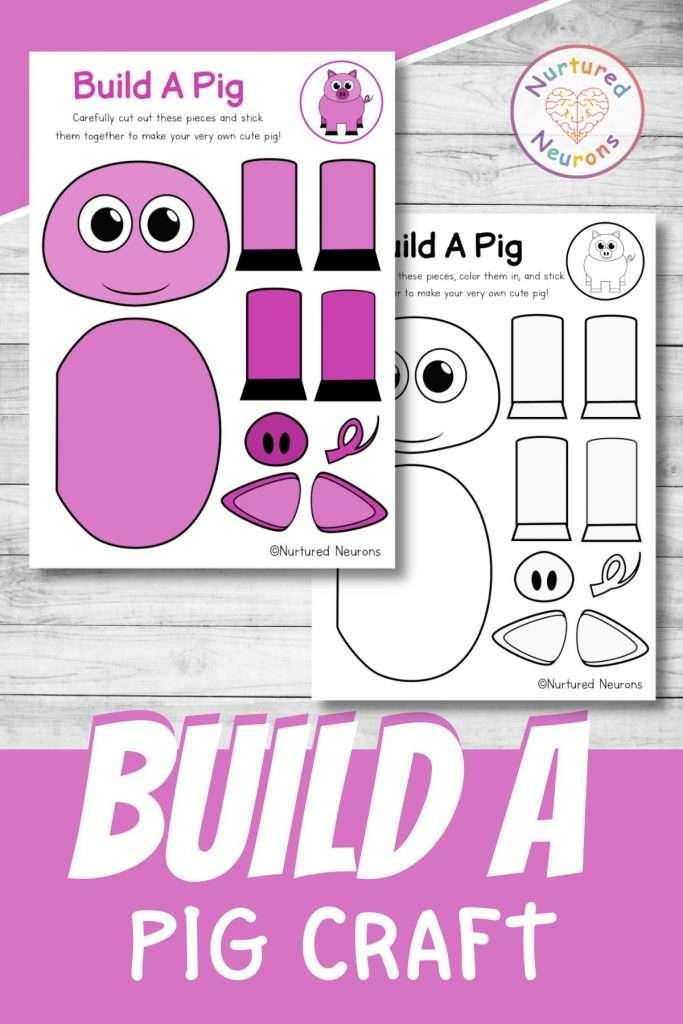 build a pig craft printable cute farmyard cut and paste for preschool and kindergarten