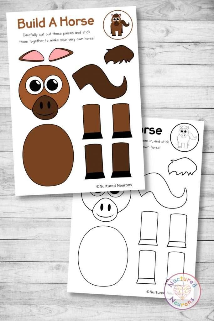 farmyard horse template cut and paste farm craft (preschool and kindergarten pdf)