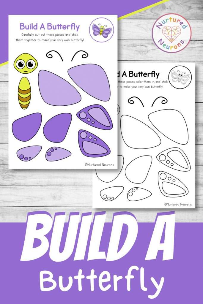 build a butterfly craft printable cute creepy crawlies cut and paste for preschool and kindergarten