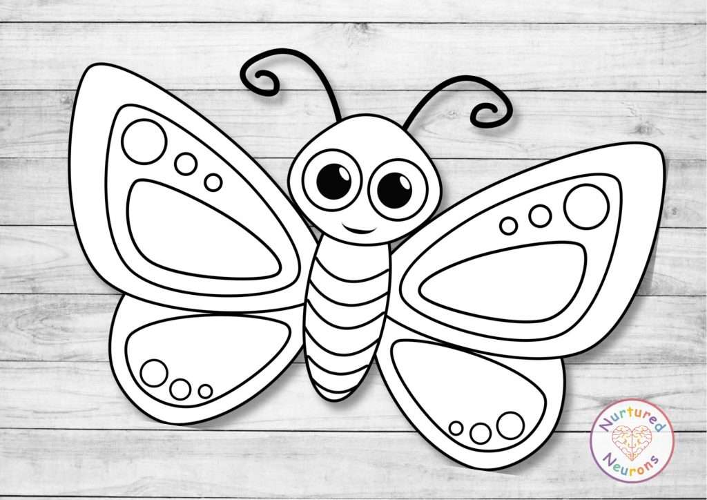 Black and white butterfly template craft