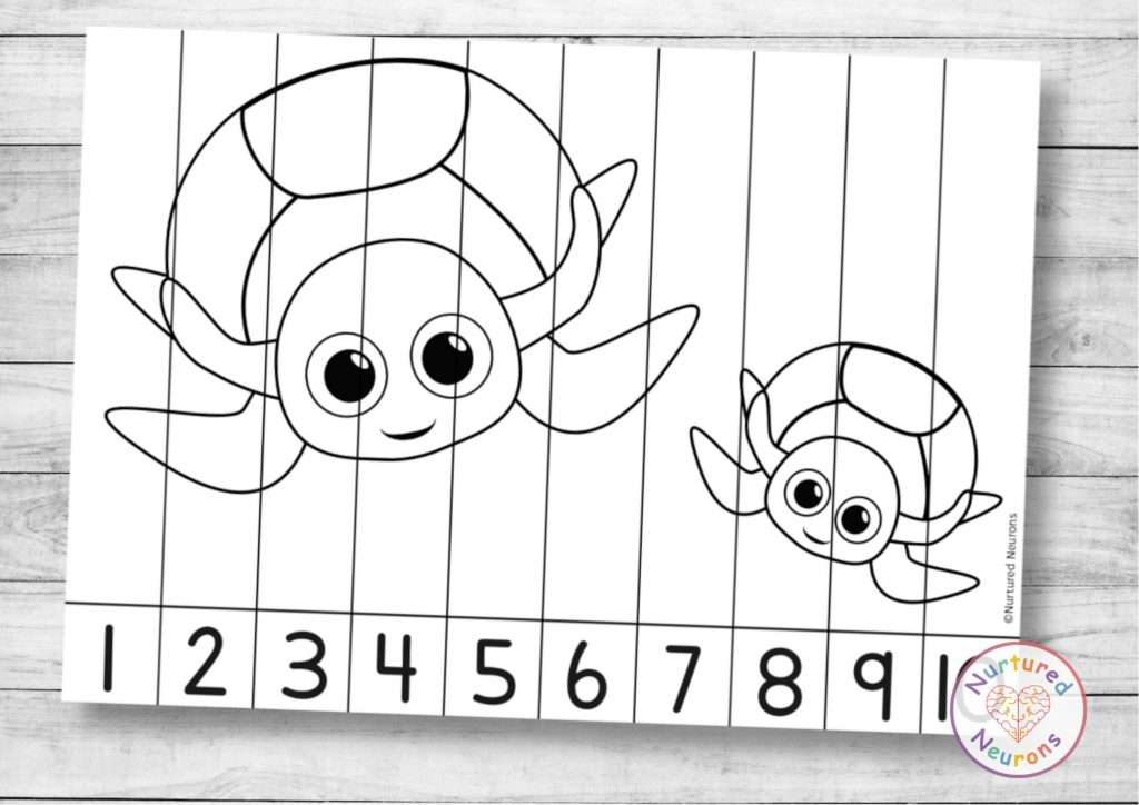 Turtle number sequencing puzzle for preschool and kindergarten sea animal math game