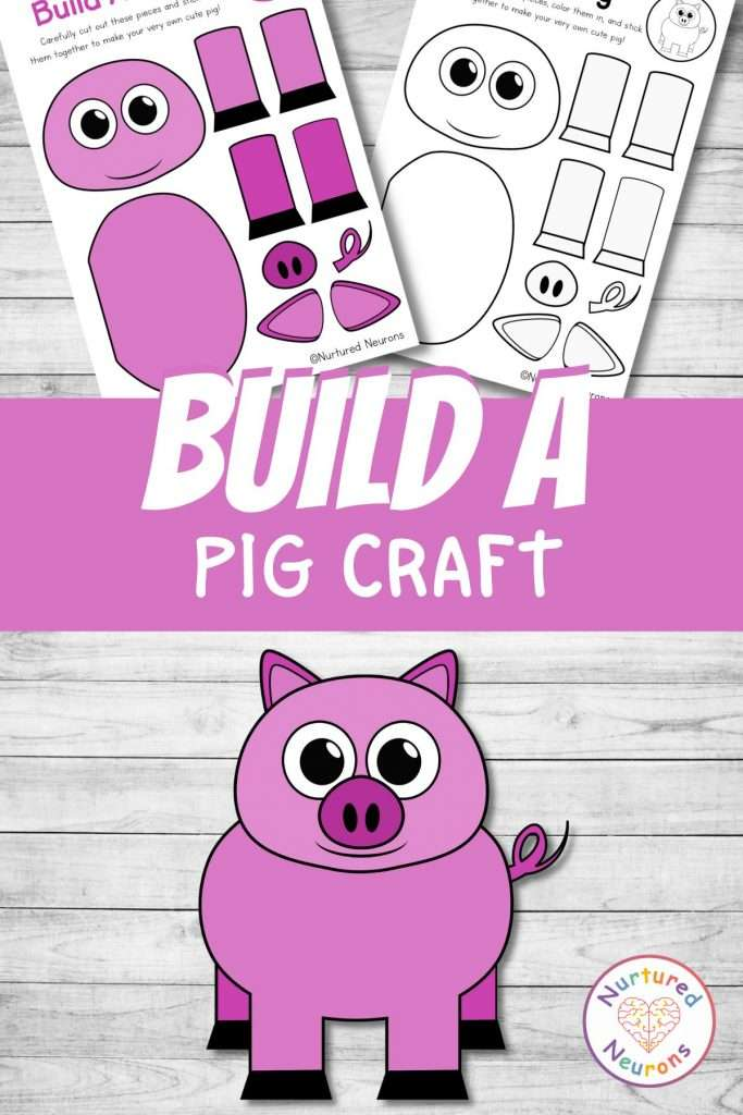 cut and paste pig craft for farmyard early years activity