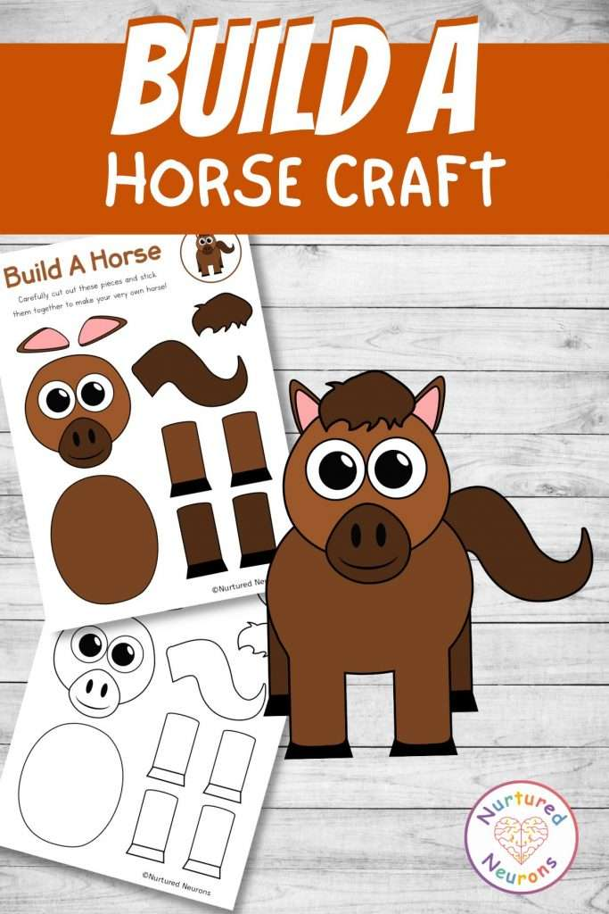 cut and paste horse craft for farmyard early years activity