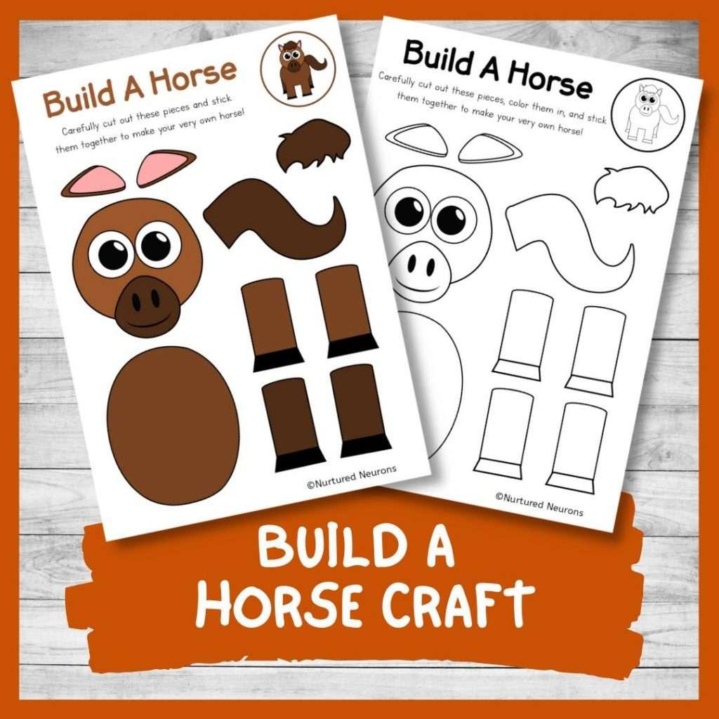 PRINTABLE BUILD A horse CRAFT cute farmyard theme cut and paste craft for kids farm activity