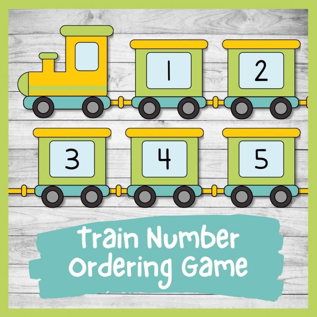 Train Number ordering game - transport preschool and kindergarten printable math activity