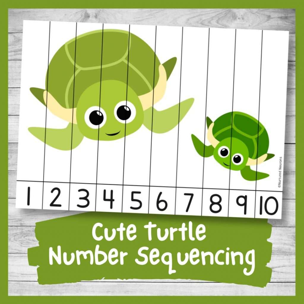 Turtle Number ordering and number recognition puzzle (cute sea animal math printable pdf)