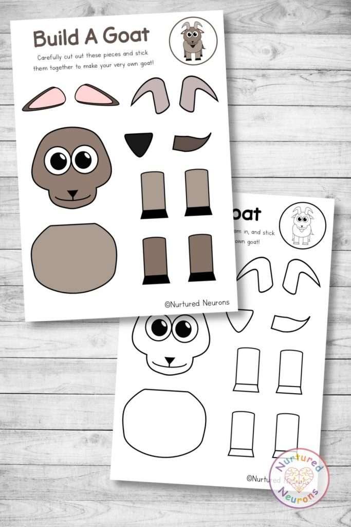 farmyard goat template cut and paste farm craft (preschool and kindergarten pdf)
