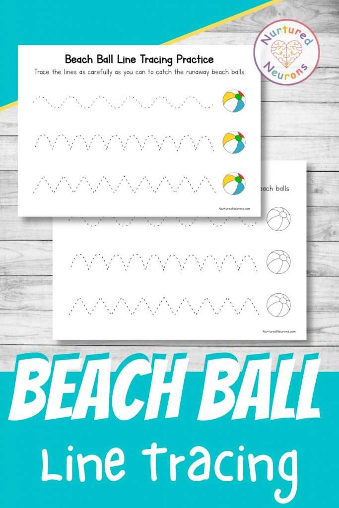 beach ball summer tracing worksheets for preschool and kindergarten - practice prewriting skills