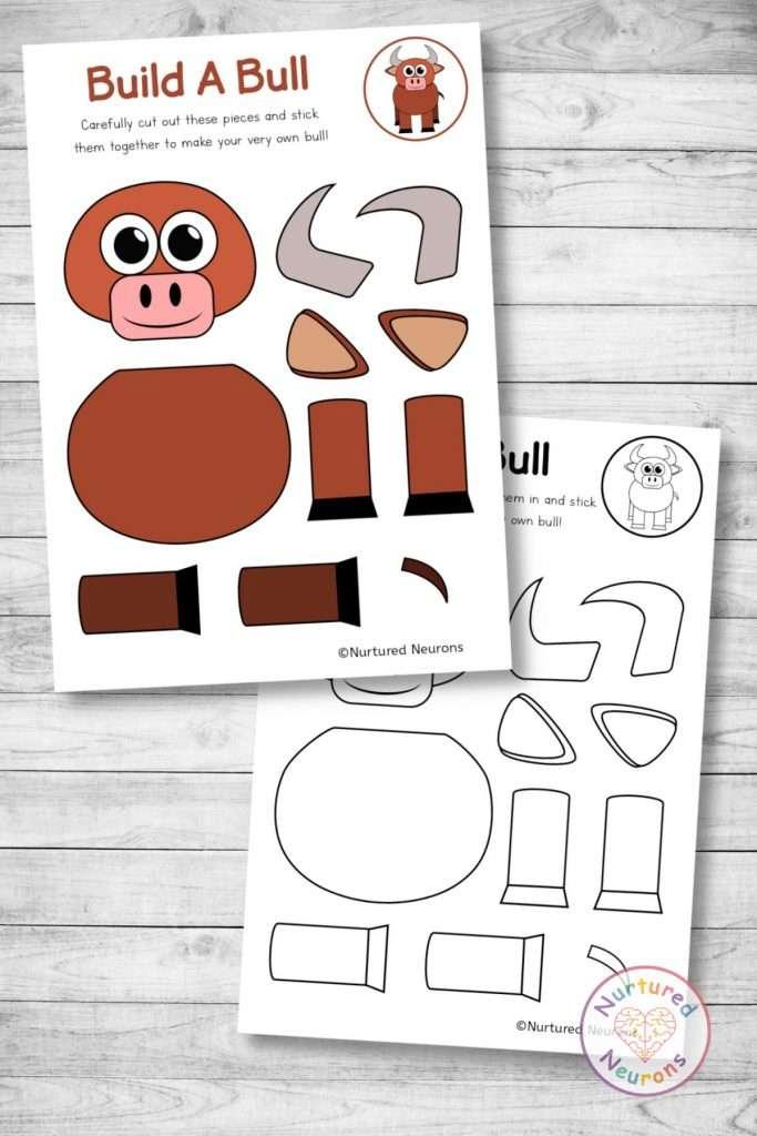 farmyard bull template cut and paste farm craft (preschool and kindergarten pdf)