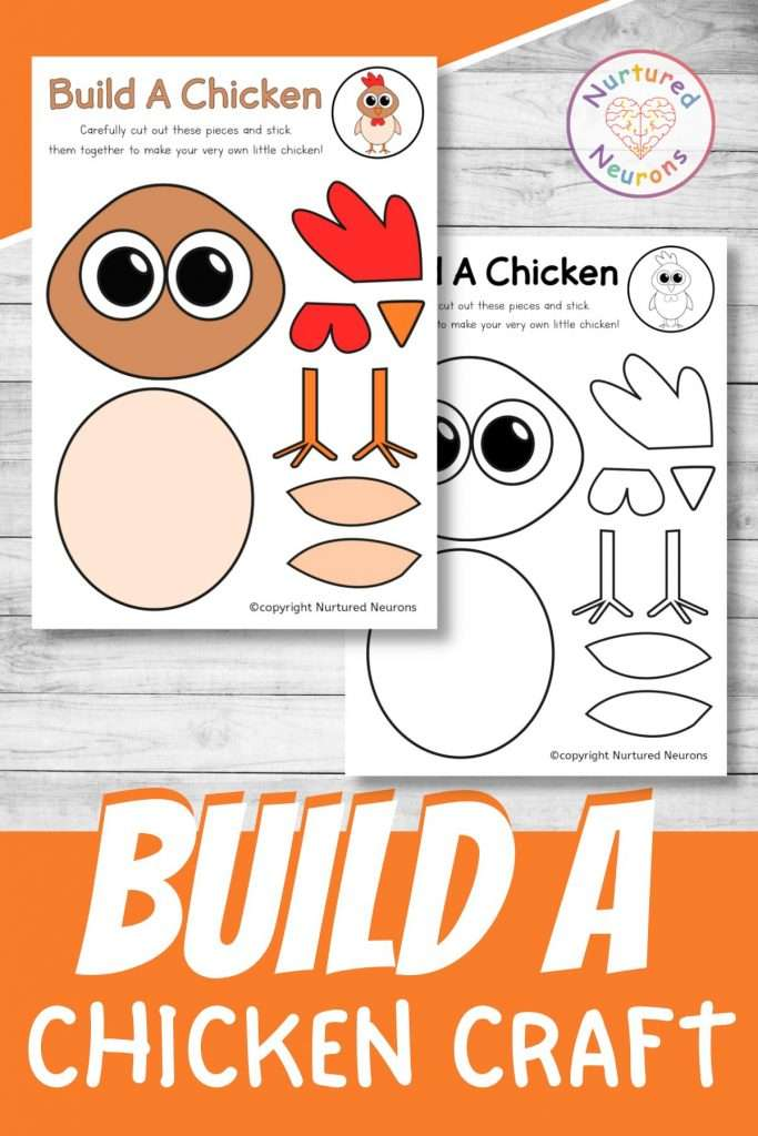 build a chicken craft printable cute farmyard cut and paste for preschool and kindergarten