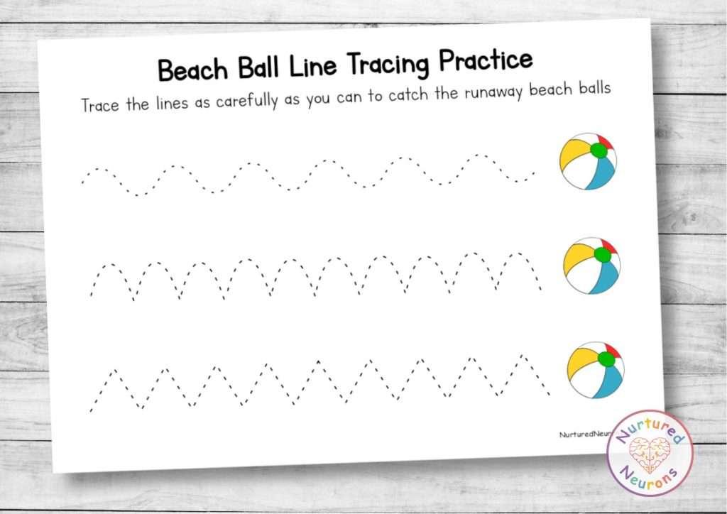 Beach ball line tracing sheets - summer preschool and kindergarten worksheets