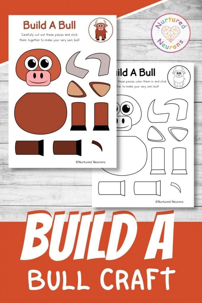 build a bull craft printable cute farmyard cut and paste for preschool and kindergarten