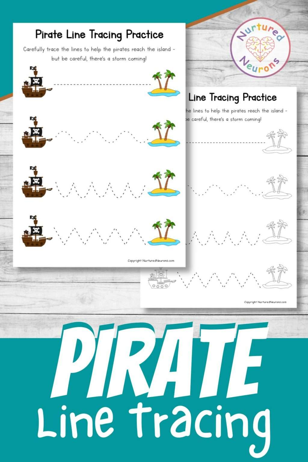 Pirate line tracing worksheets for preschool and kindergarten - practice prewriting skills