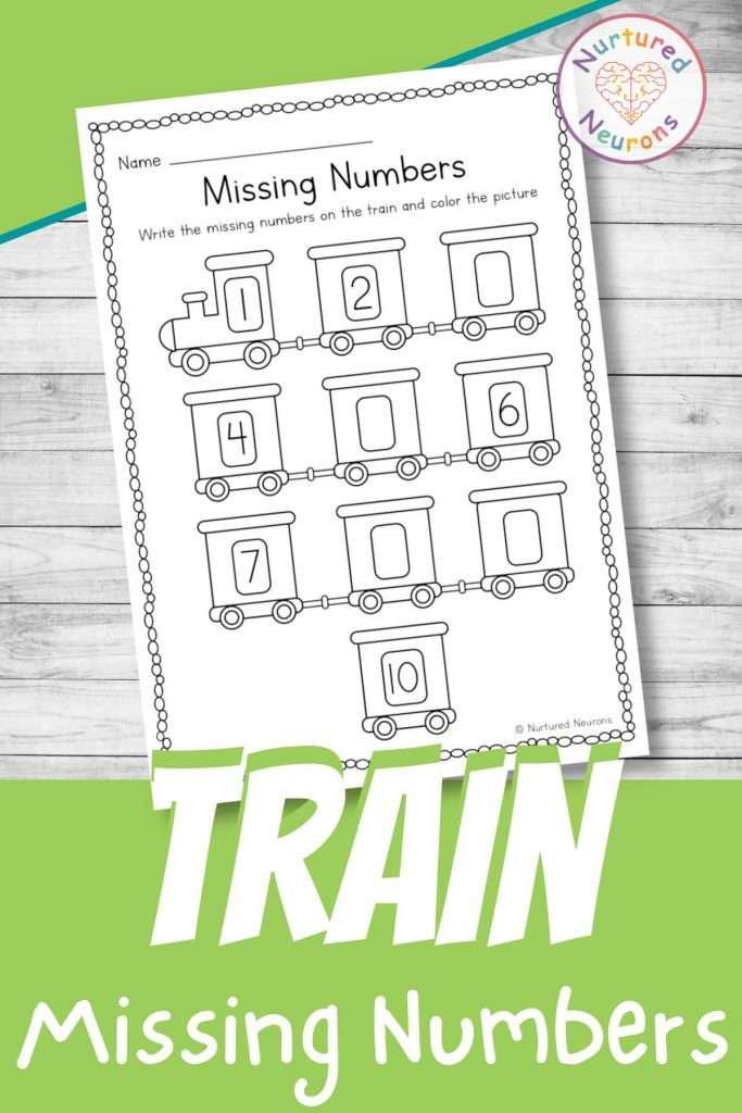 Train themed missing number worksheet for kindergarten - printable math sheet for preschool