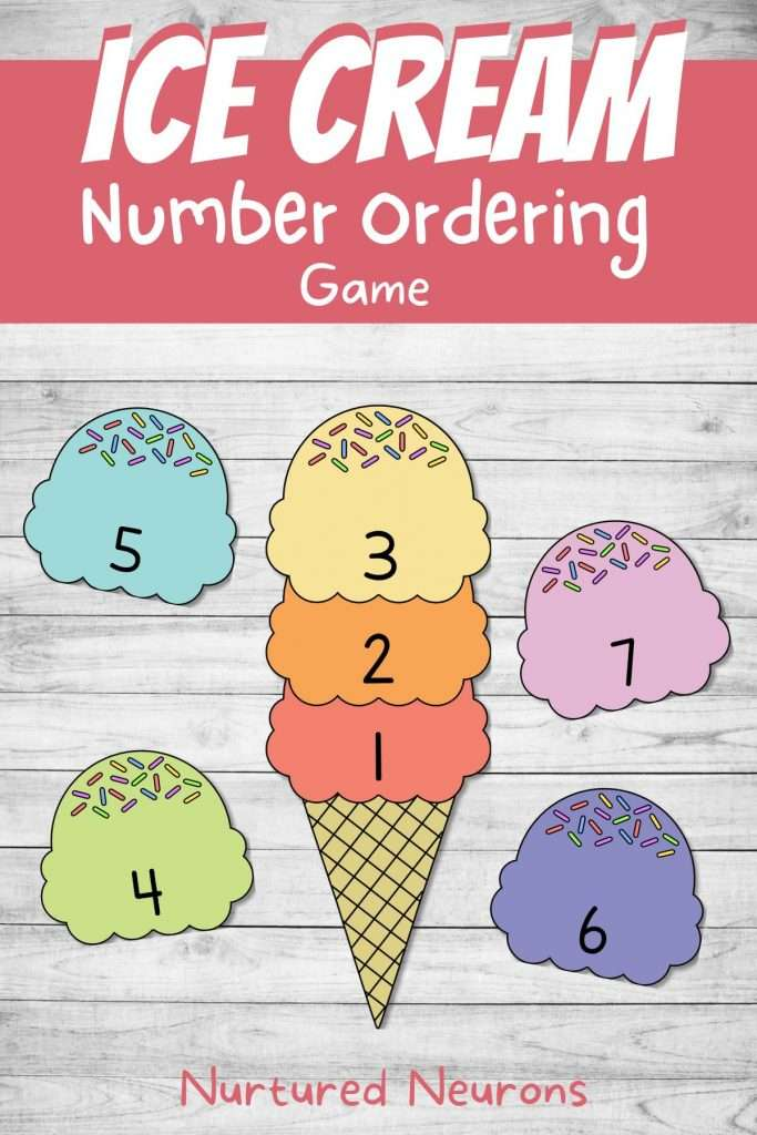 summer ice cream preschool math game - printable pdf