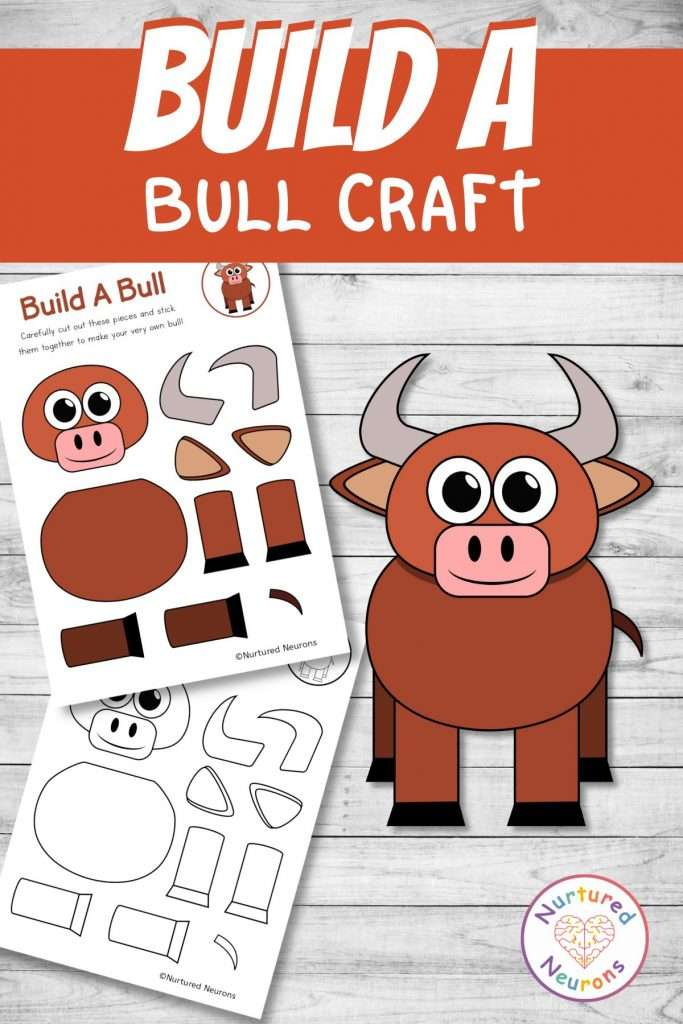 cut and paste bull craft for farmyard early years activity