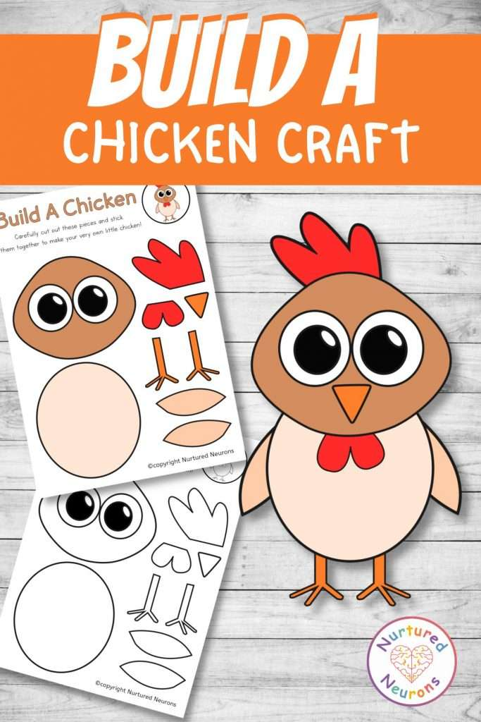 cut and paste chicken craft for farmyard early years activity