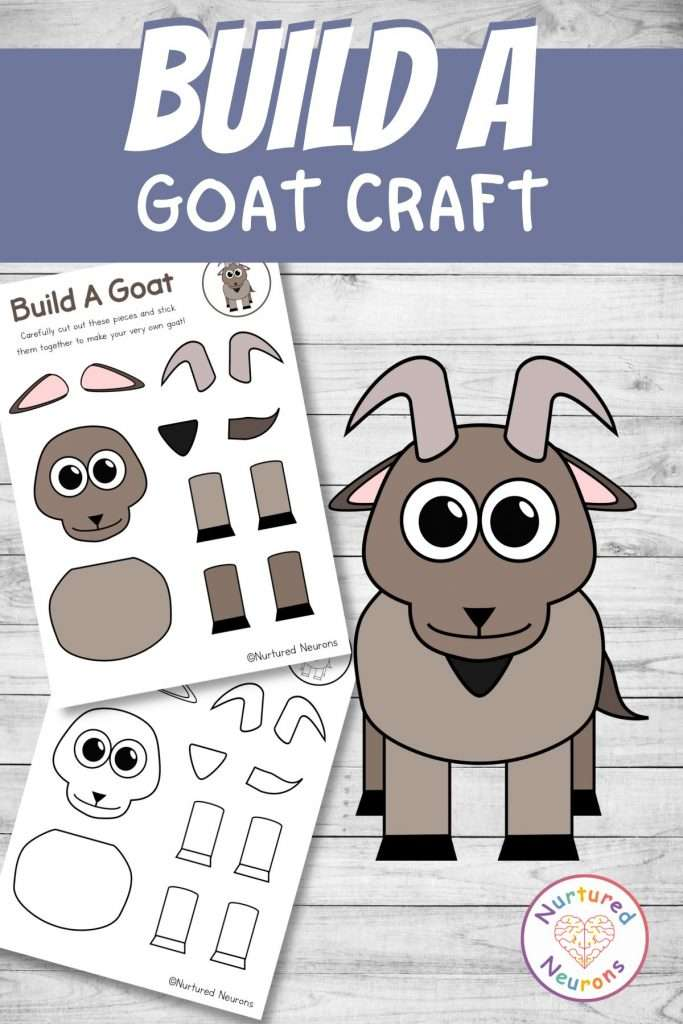 cut and paste goat craft for farmyard early years activity
