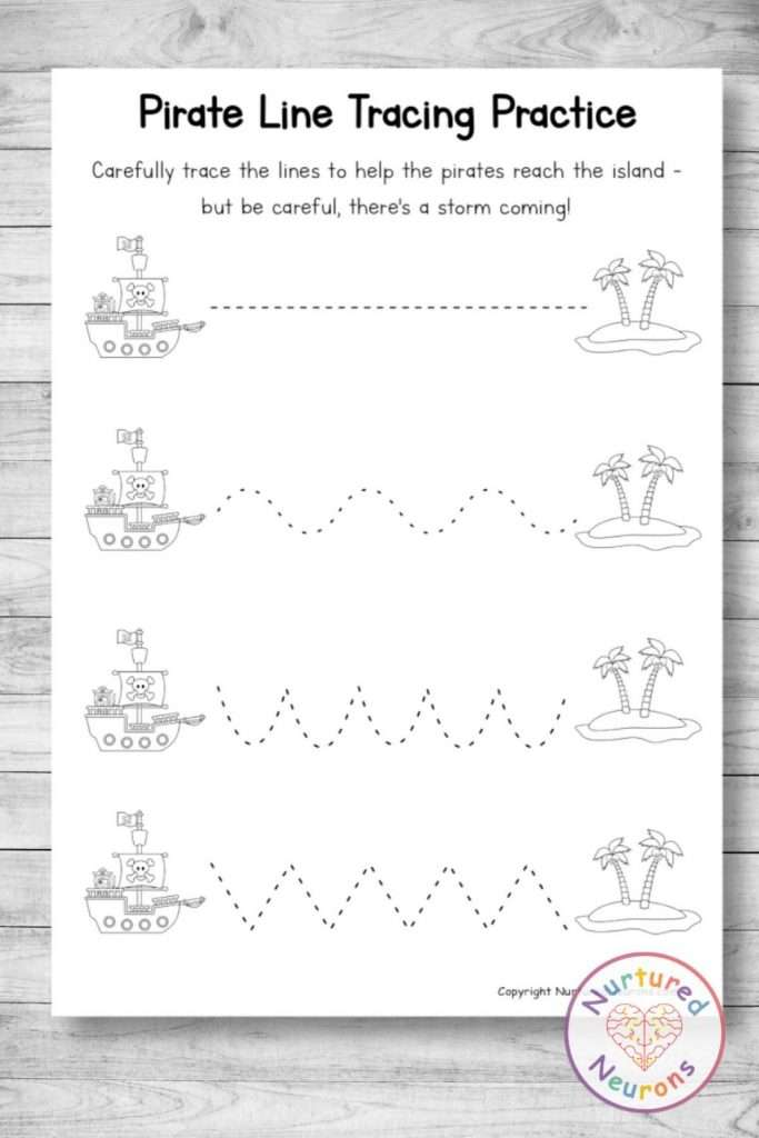 Black and white line tracing worksheets - printable pdf with a pirate theme