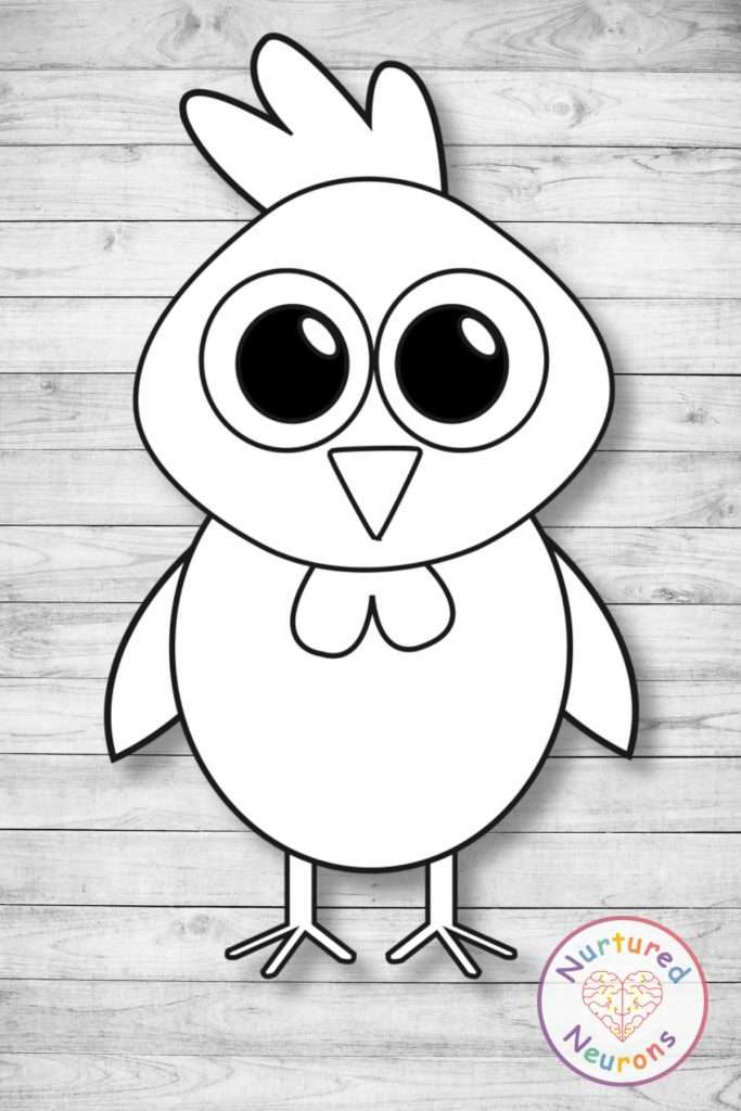 Black and white chicken template craft