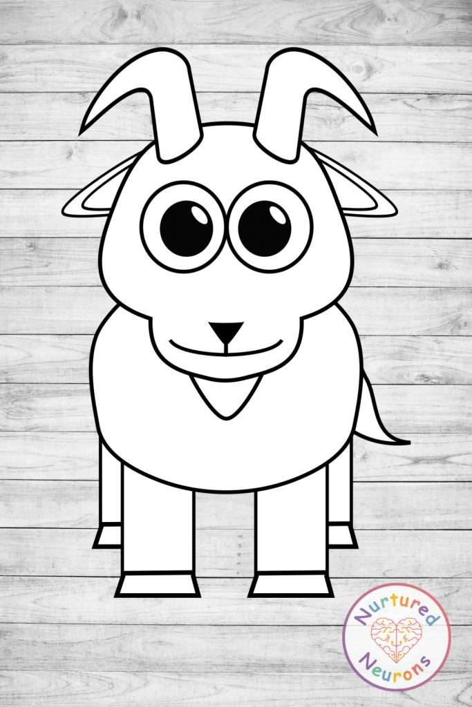 Black and white goat template craft
