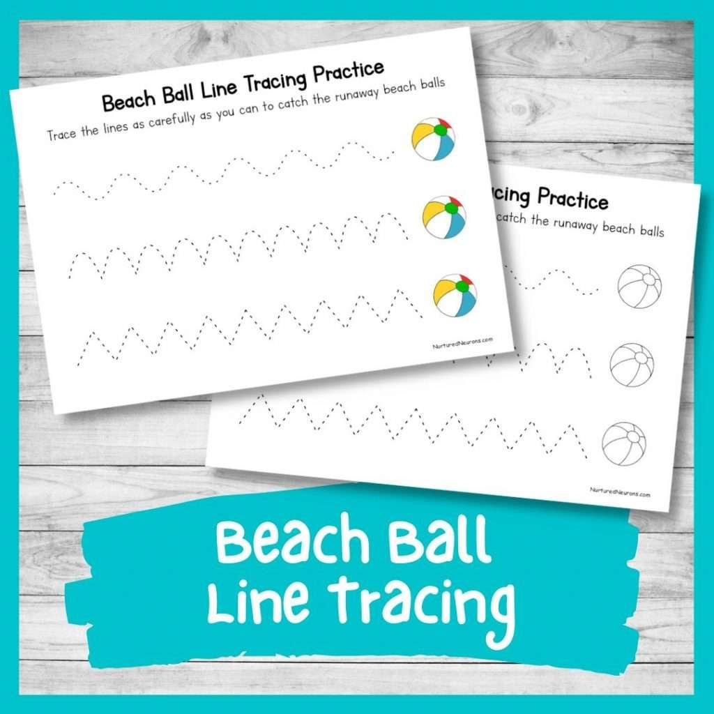 Beach ball line tracing worksheets for kids - preschool and kindergarten summer worksheets pdf