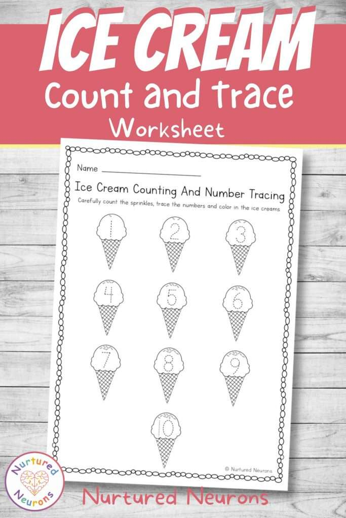 summer counting and number tracing sheet for preschool and kindergarten pdf