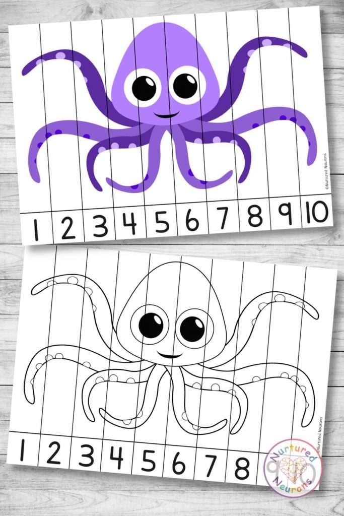 Cute octopus number ordering puzzle sea animal Math printable worksheet for kids