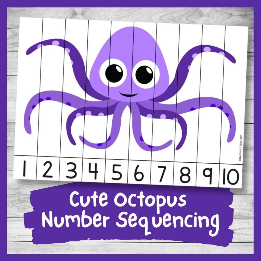 Octopus Number ordering and number recognition puzzle (cute sea animal math printable pdf)