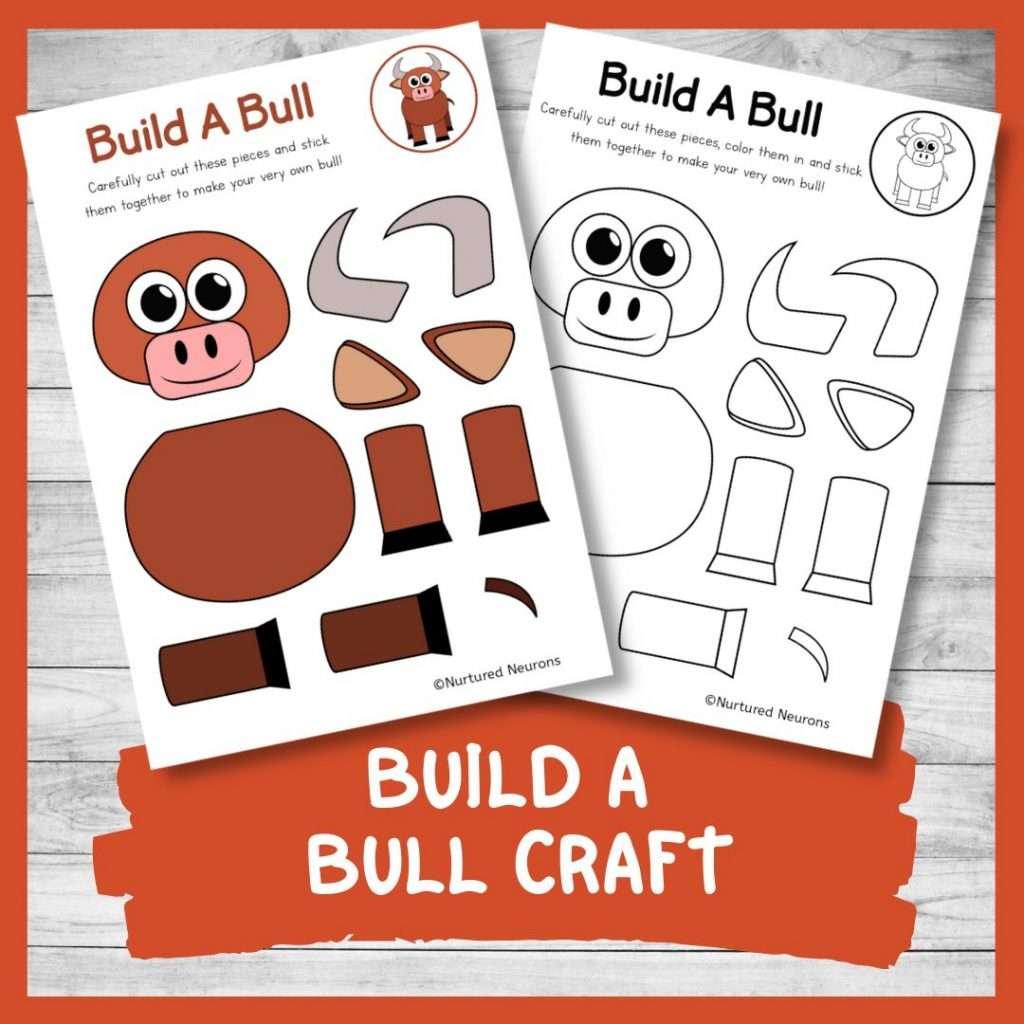 PRINTABLE BUILD A bull CRAFT cute farmyard theme cut and paste craft for kids farm activity