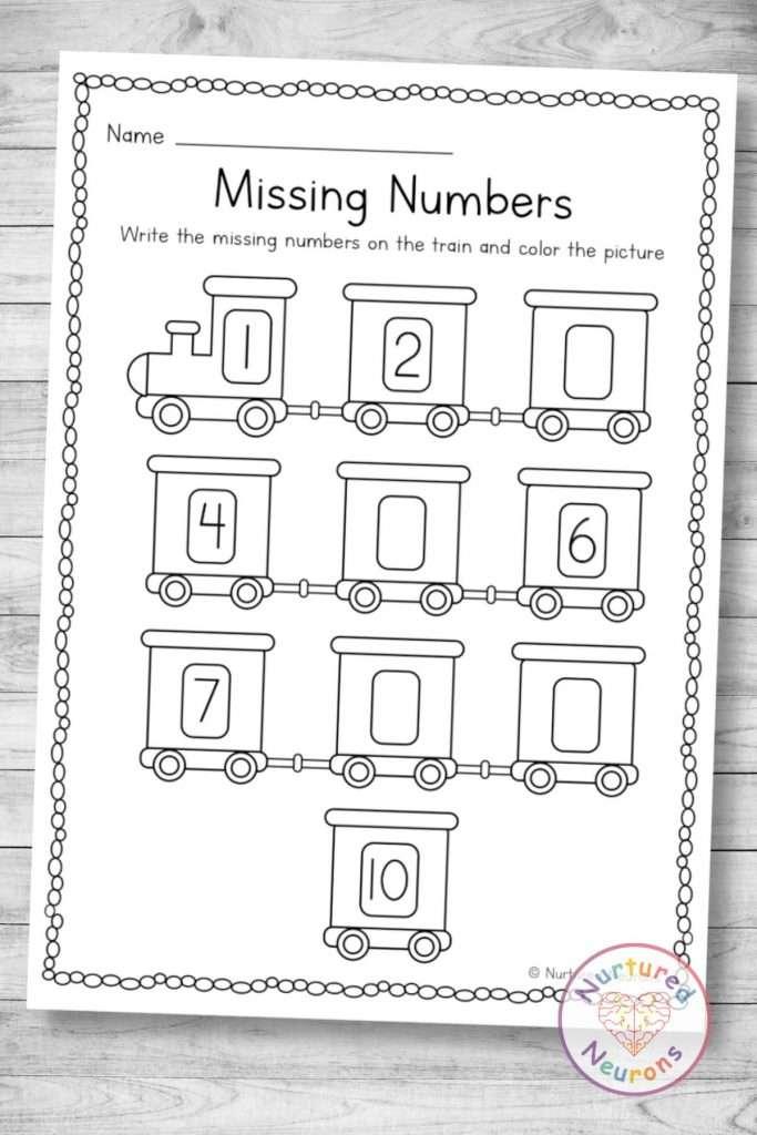 Printable train missing numbers worksheet (preschool and kindergarten download pdf)