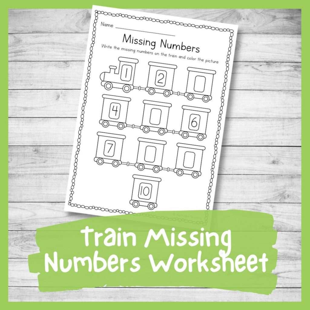 Train missing numbers worksheet - transport theme kindergarten printable counting sheet