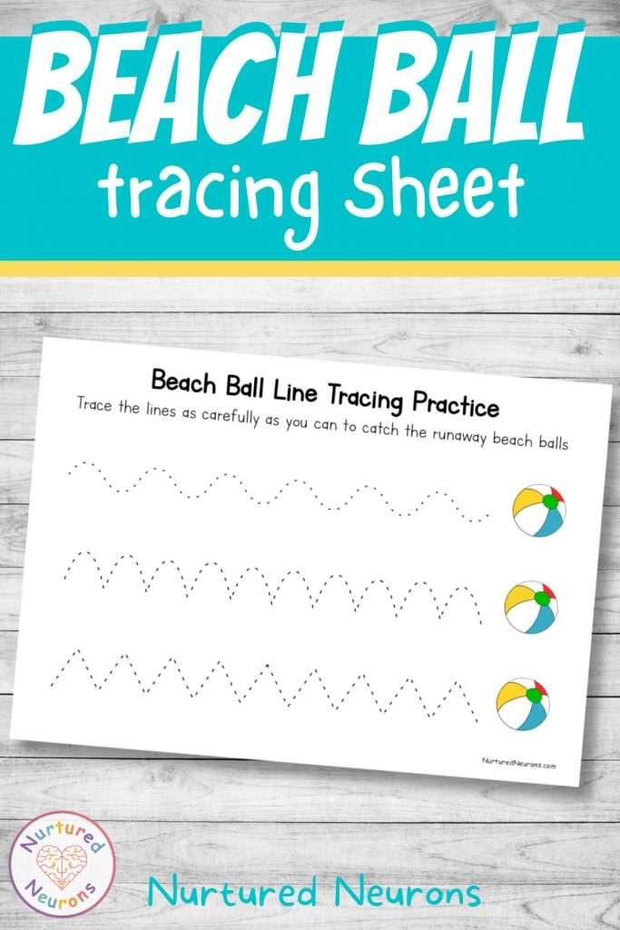 summer worksheet - tracing for kids and kindergarten and preschool